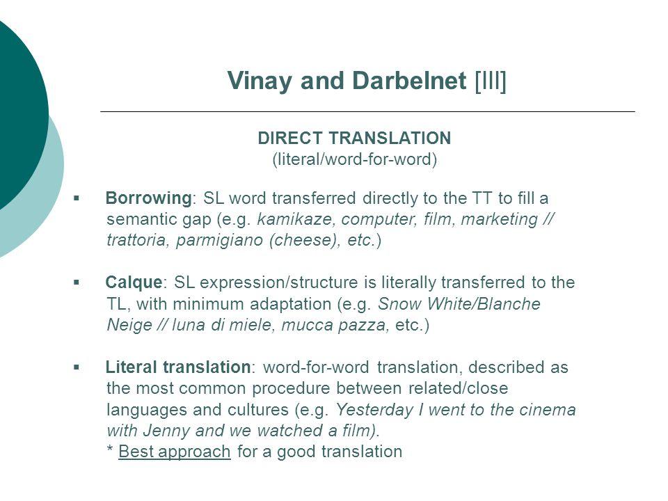Vinay and Darbelnet [III]